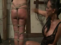 Strong domina man handling her 19yo butch slave