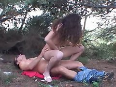 Curly Dark haired Banged in the Woods