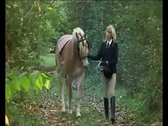 Stella Cool Girlie Riding a Horse in the Woods outdoor seductive russian doggystyle bony