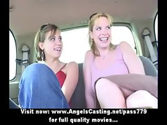 Amateur alluring blond lesbo couple with natural hooters doing hooters massage