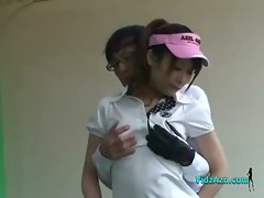 Asian Young woman Sucks Caressed And Fingered By Her Golf Instructor