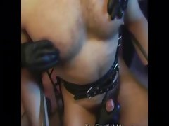Femdom dirty ladies in leather tug prick for their subject