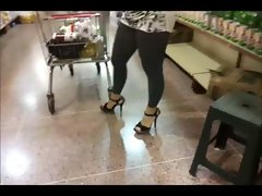 Luscious naughty ass in transparent leggins without underwear in public III