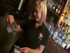 Comely blond cashier gets banged in the coffee shop for cash