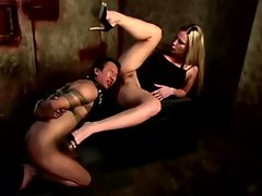 Harmony pushing snatch into slaves mouth