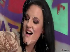 Slimed bukkake cutie licks artificial gloryhole prick