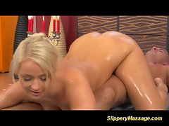 Slippery nuru massage tempting blonde accepts cum on the table