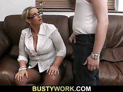 Top heavy salesgirl gets boned from behind