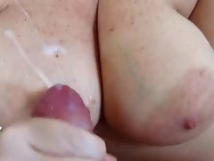 cumshot on large melons