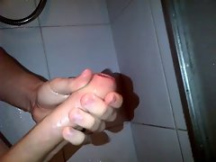 Extremely huge shaft shower wank