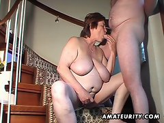 Plumper amateur slutty wife toys and caresses and gets banged