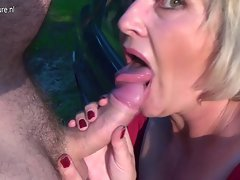 Attractive mature slutty mom Monieka licks prick and squirts like wild