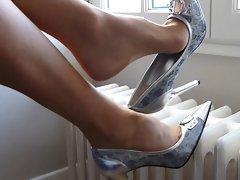 Dangling with silver shoes and ultrasheer pantyhose