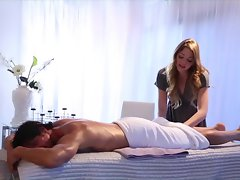 Attractive masseuse Jessie Andrews gives the full service