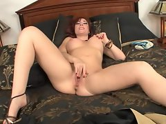 Brittany OConnell moans has she toys her slot