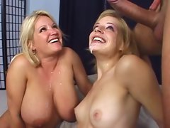 Two sensual vixens Ally Ann and Rachel Love share a big meat pole