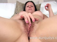 Sexual filthy bitch Amber spreads her legs