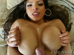 Yurizan Beltran gets her knockers sprayed with warm jizz