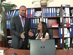 Lewd secretary Angelica Heart has fuck fun in the office