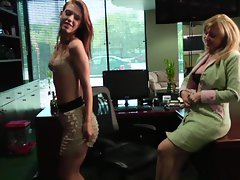 Attractive Nina Hartley accepts extra advantage of her sensual assistant