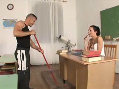 Aliz the lewd and attractive school teacher bangs the cleaner a different student