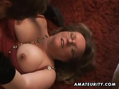 Plump and top heavy amateur dirty wife caresses and screws with cum