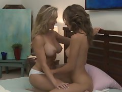 Tit and vulva fun with Malena Morgan and Brandi Love