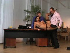 Sexual secretary Cindy Hope is threewayed in the office