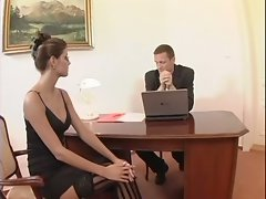Whorish secretary spreads her legs for her alluring boss right on his desk