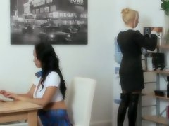 Laura Lion and Diana Gold go to a office and both get a rough fuck