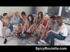 barely legal college nymphos playing sex roulette