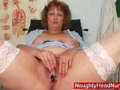 Heavy older nurse momma gets wild in gyn clinic