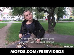 Natural blond Czech lady is picked up for public sex