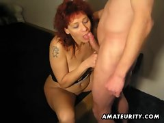 Experienced redhead amateur better half caresses and bangs