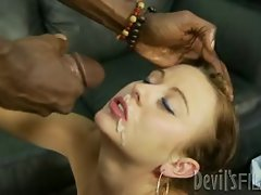 Mae Lynn gets her face blasted with warm shaft juice