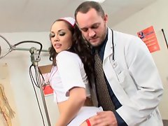 Nurse Kristina Rose gets a nice banging from a doctor at the office
