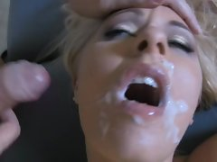 Randy Riley Evans opens widely a gets a face full of fresh cum