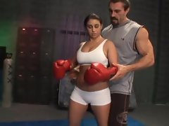 Feisty Whitney Stevens is a knockout boxing slutty girl taking cockpunch in the pussy