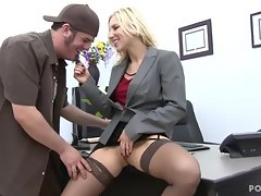 Lewd boss Ashley Fires bangs on her office desk