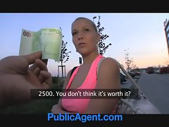 PublicAgent Sensual russian blondie gets banged in the bushes
