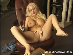 Lewd Tempting blonde Angelina Play Her Knockers And Twat