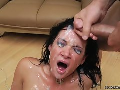 Saucy Tory Lane gets her face drenched with warm cum