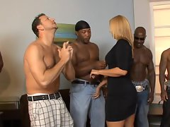 Bi-racial thugs beg for attractive mummy Mellanie Monroe to fuck but she only chooses 1