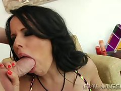 Diamond Kitty shoves this solid cock down her throat