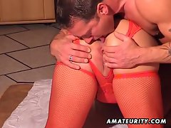 Plump amateur slutty wife strokes and bangs at home