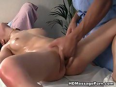 Explicit massage vid with amazing dark haired babe