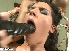 Intense femdom sequence among dark haired