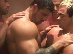 A group of hunk dudes nakes in the shower room