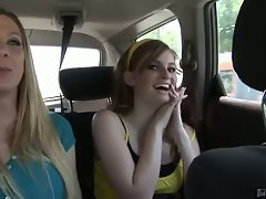 Tempting blonde cute chicks on their way talking sensual in the car