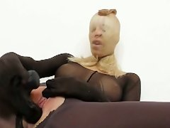 Whorish blonde's nylon mask kink